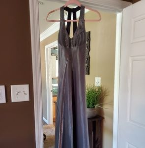 Charcoal gray maxi dress with rhinestones